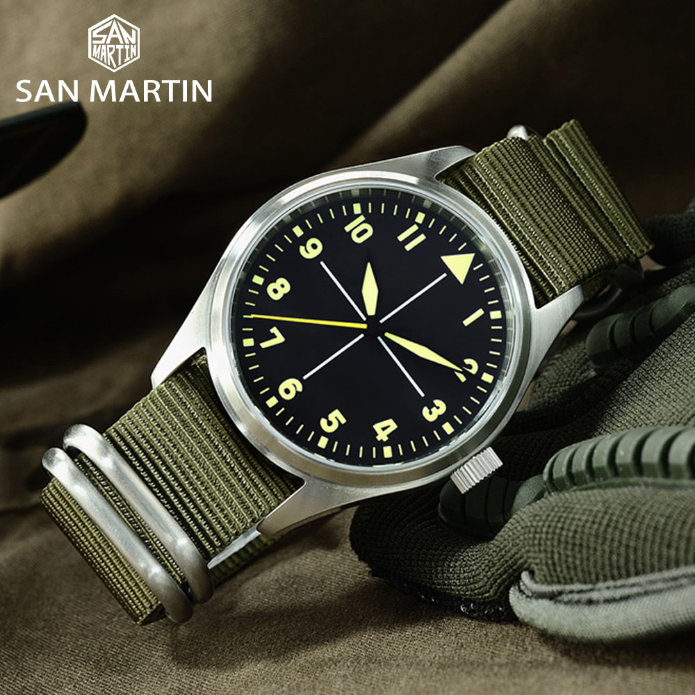 Image 2 - San Martin Stainless Steel Pilot Mens Automatic Mechanical Watch Luminous Waterproof NATO Nylon SapphireMechanical Watches   -