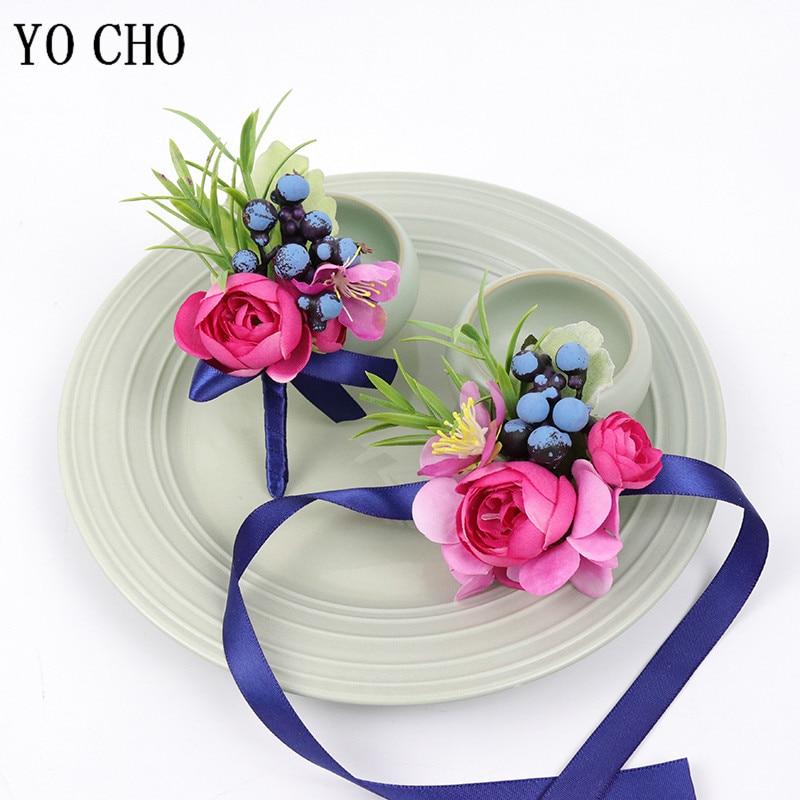 YO CHO Wedding Flower Wrist Bracelet For Bridesmaids Men Boutonniere Artificial Silk Rose Wedding Sister Wrist Corsage Flowers