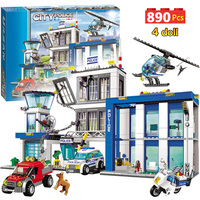890pcs City Police Station Building Blocks Compatible Legoinglys City Cop Car Jail Cell Helicopter Bricks Toys for Children
