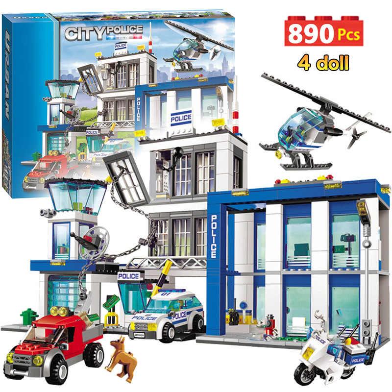 890pcs Delegacia de Polícia Da Cidade de Blocos de Construção Compatíveis Legoinglys Cidade Policial Carro Cela Helicóptero Tijolos Brinquedos para As Crianças