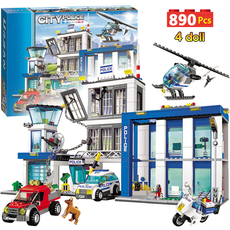 890pcs City Police Station Building Blocks Compatible Legoinglys City Cop Car Jail Cell Helicopter Bricks Toys for Children image