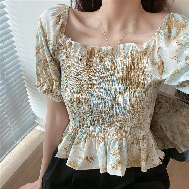 Vintage Blouse Women Summer Square Collar Puff Sleeve ruffles ladies crop Tops Plus Size Blouses Shirts camisas mujer 6