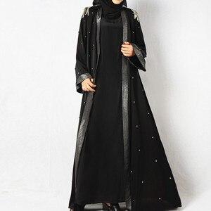 Beaded tassels muslim fashion abaya women Sun proof Robe muslim open abaya kimono Islamic Clothing dubai turkey kaftan MSL825