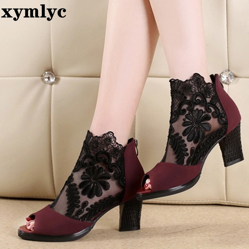 Summer mesh Peep Toe sandals sexy heels single shoes women shoes in Europe and America 2020 spring and summer gauze mujer 4
