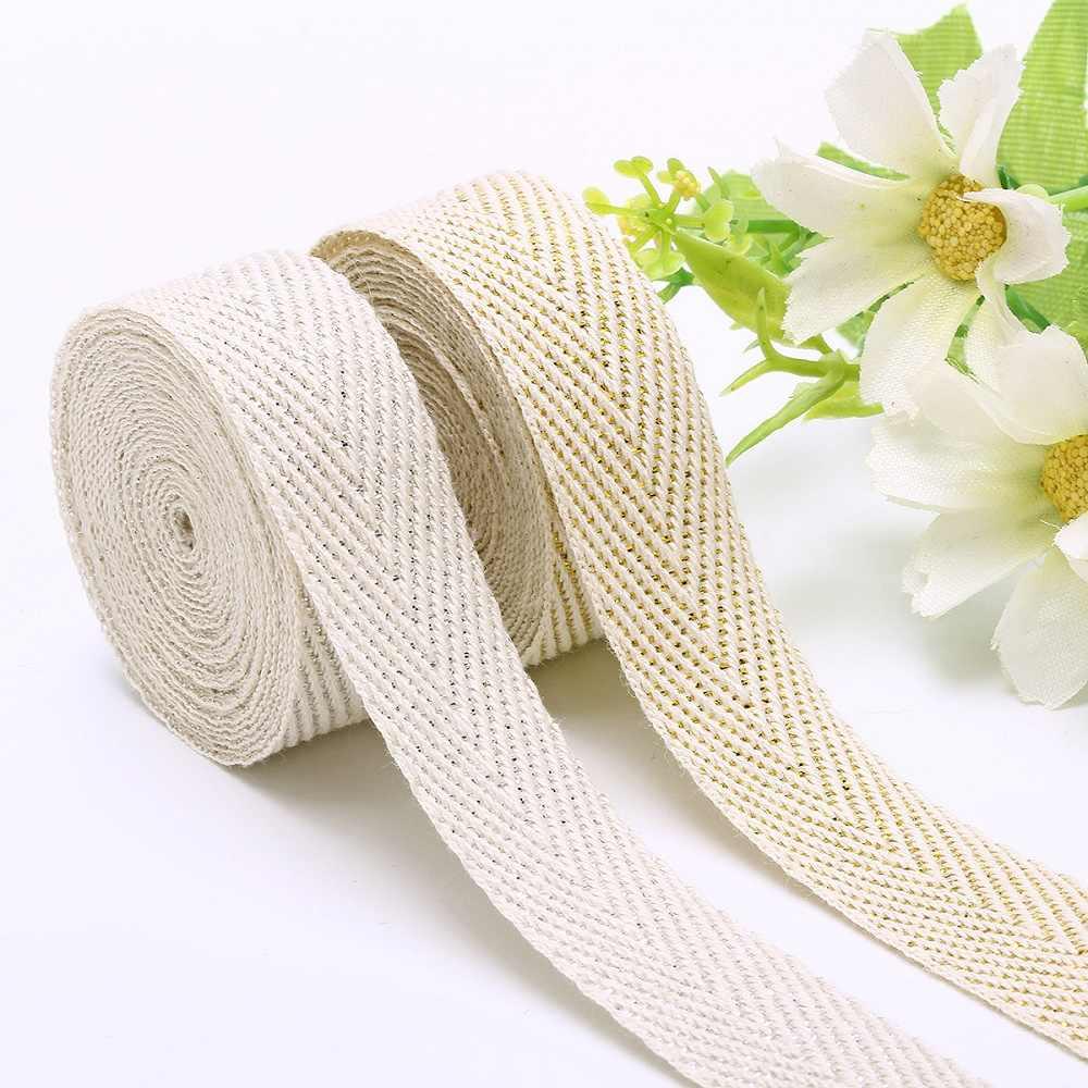 50 Yards/Roll Beige Baumwolle Twill Band Silber Gold Linie Band 10mm/15mm/20mm/25mm Fischgräten Band für Falzen Trimmen Verpackung