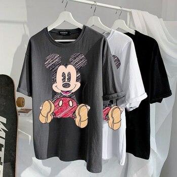 Disney 2021 T-shirt Women Cartoon Mickey Minnie Mouse Women Short Summer Regular t Shirt O-Neck White Tops Tee Shirt Loose Femme 1