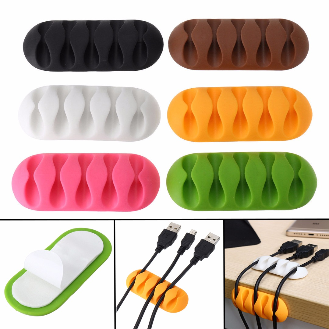 1pc Five Hole Fixed Wire Clamp Self-Adhesive Cable Clips Table Tidy Earphone Organizer Wire USB Charger Holder Clamp