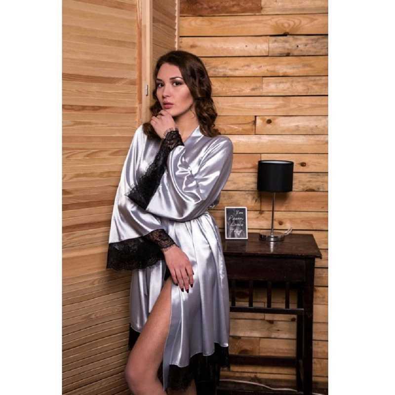קיץ 2019 סקסי נשים הלבשה תחתונה הלבשת תחרה סרוגה שמלת גבירותיי 3/4 שרוול חלוק לילה שמלת חלוק