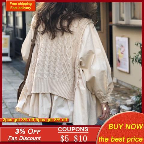Осенняя трикотажная рубашка с имитацией двух частей женские
