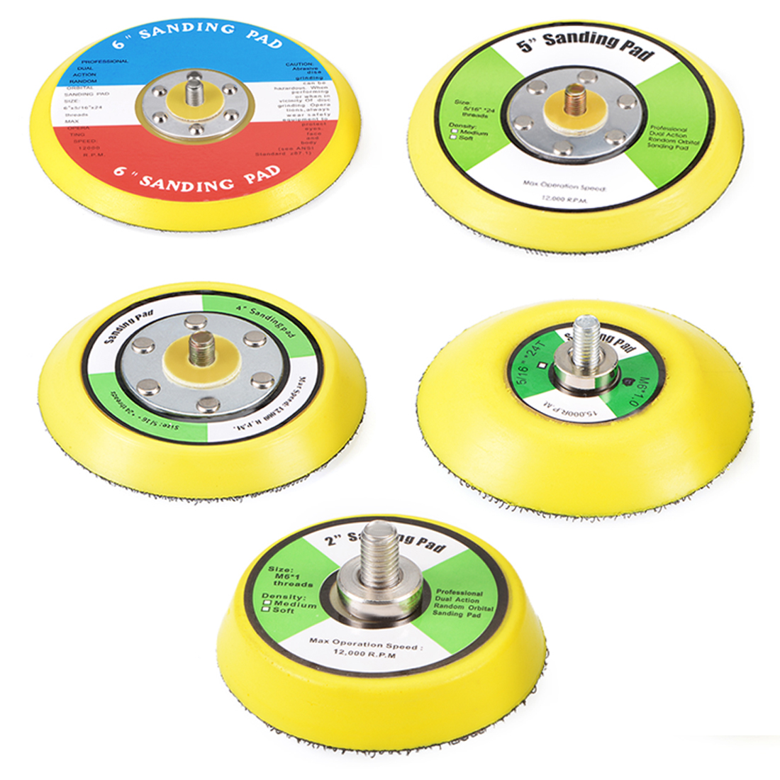 Uxcell 2/3/4/5/6 Inch Hook And Loop Sanding Pad M6*10mm Thread Sandpaper Backing Plate To Sanders Polishers Buffers 2Pcs