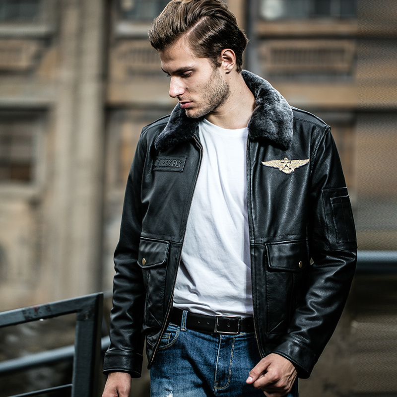 Fly Men's Genuine With Fur Collar Real Cowskin Bomber Jacket Men Winter Leather Coat