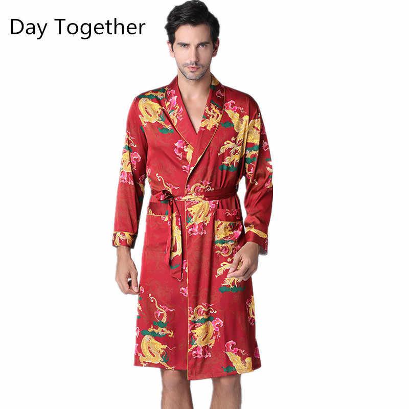 Chinese silk satin Men/'s Kimono Robe Gown Bathrobe Nightwear Sleepwear Gown
