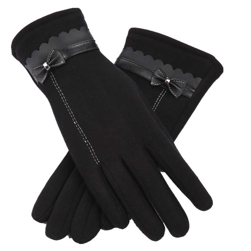 MINHIN Elegant Women Winter Gloves Double Thick Plush Mittens PU Leather Gloves Warm Full Finger Touch Screen Driving Gloves