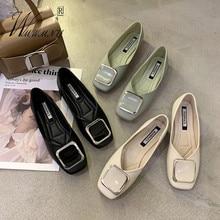 Korean Style Square Toe Metal Decoration Slip-On Office Lady Shoes Elegant Flats Party Dress Shoes Non-Slip Women Shoes Oxfords