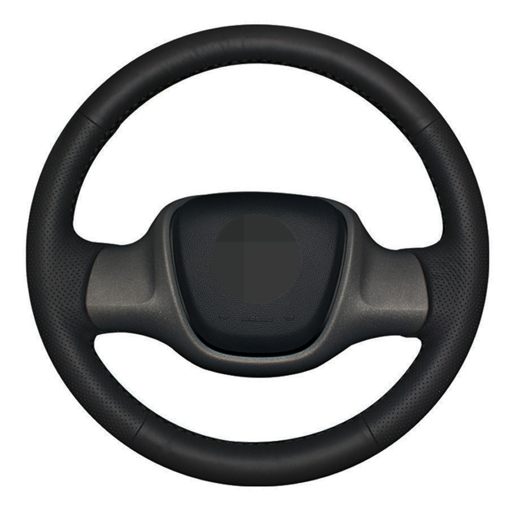 <font><b>Car</b></font> Steering <font><b>Wheel</b></font> <font><b>Cover</b></font> Hand-stitched Black Genuine Leather For Smart Fortwo image