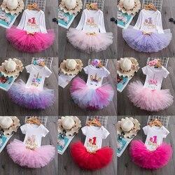 1st vestido de aniversário para meninas do bebê roupas carta uma impressão do bebê 1 ano vestido de festa de aniversário unicórnio da criança do bebê meninas vestido
