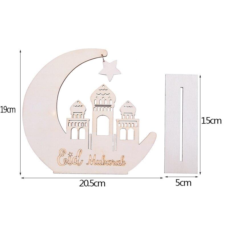 Wood Craft Ramadan Eid Mubarak Decorations for Home Moon Wooden Plaque Hanging Ornament Pendant Islam Muslim Party Supplies