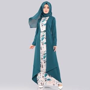 Image 4 - Abaya robe Hijab pour femmes, ensemble deux pièces, tissu islamique arabe, imprimé Floral, Folk, personnalisé, robes Maxi, Slim, Dubai, Kaftan