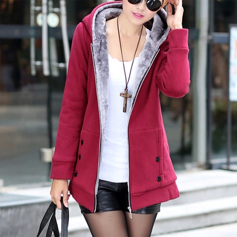 Casual Women Hoody Warm Sweatshirt Slim Fit Zipper Sweat Coat Dihope Winter Outerwear Hooded Clothes Plus Size 5XL Streetwear