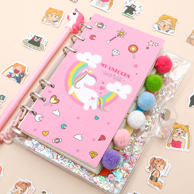 18 Pcs/Set Kawaii Unicorn Planner Book Pink PVC Transparent Notebook Kawaii Stickers Pen Gift Box Girls Diary Journal