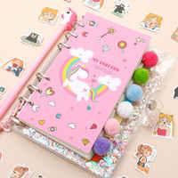 Boîte à autocollants en PVC rose, livre de planificateur de licorne Kawaii carnet de notes Transparent en PVC rose, boîte-cadeau pour les filles, Journal de 18 pièces/ensemble