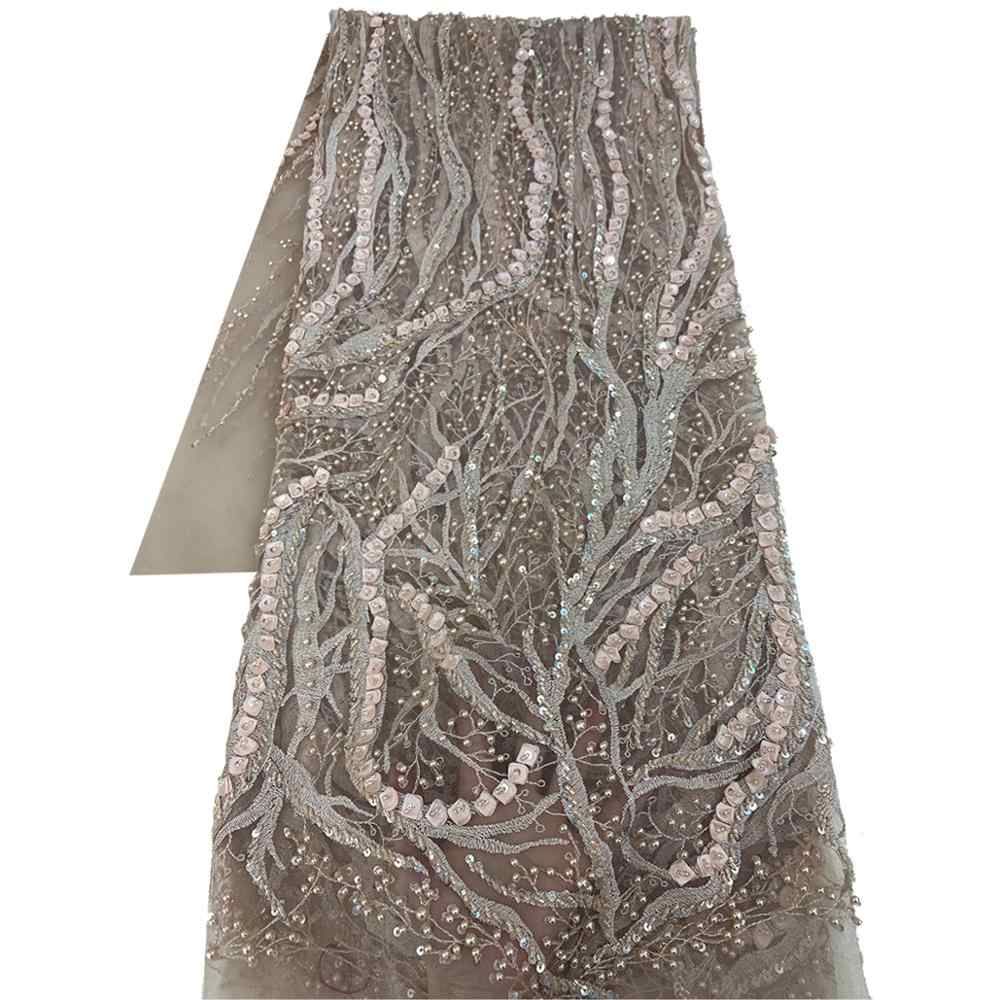Peach Floral Thread Embroidery Sequins Work Net Laces 10 Yards