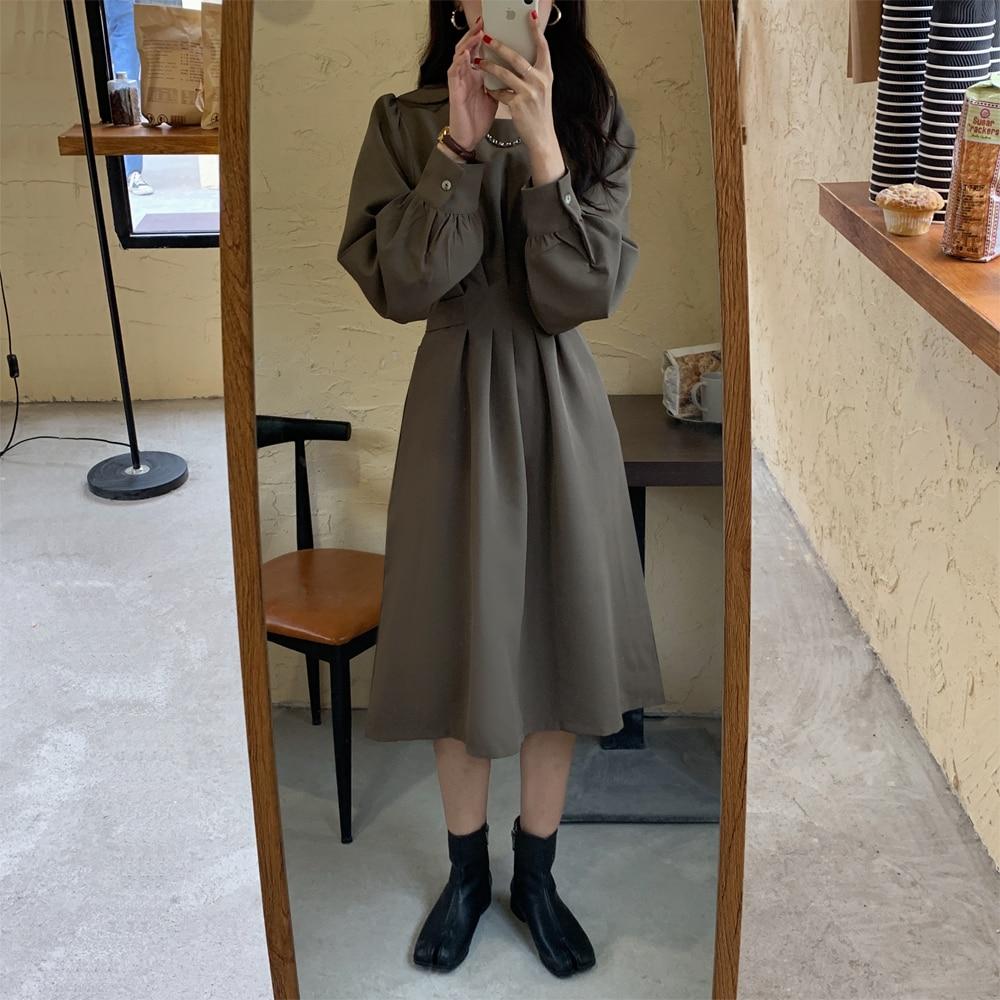 Hb4361a0df2b74a3abfde79fb74bc73d7i - Autumn Korean O-Neck Long Sleeves Dark Solid Midi Dress