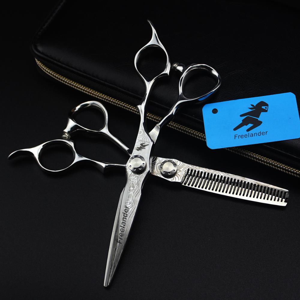 6 Inch Sale Japan Hair Scissors Teflon Shears Damascus Hairdressing Scissors Barber Thinning Scissors Hairdresser Razor Haircut