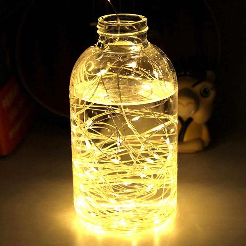 1-10M LED String ไฟทองแดงไฟ Fairy Light สำหรับคริสต์มาส Garland ห้องนอนในร่มโคมไฟตกแต่ง