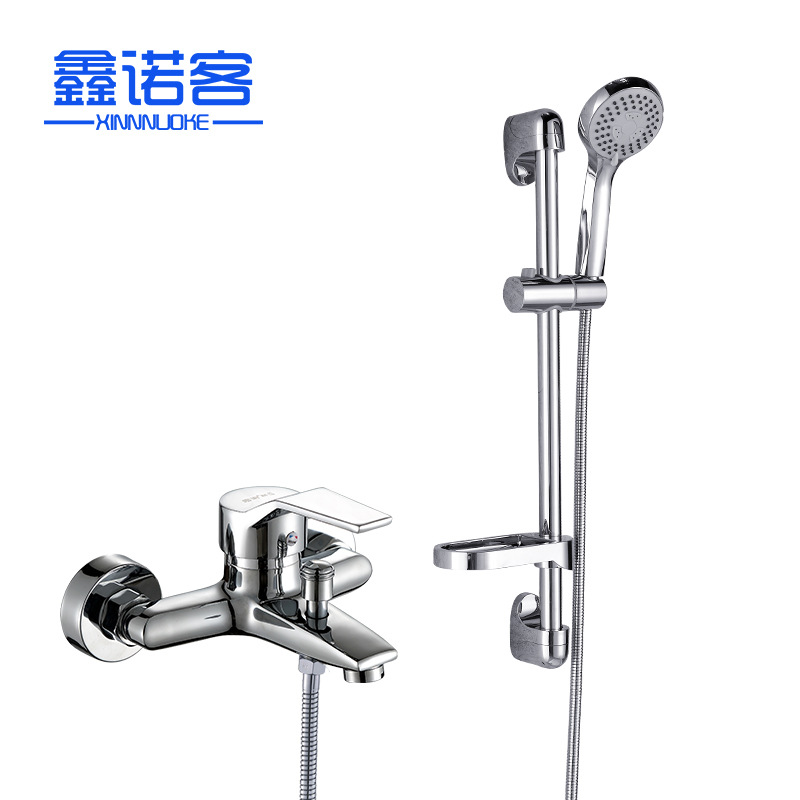 Wall-in Paperback Shower Set Lift Rod Shower Hot And Cold Mixing Water Shower Faucet IELTS Triple Three-piece Set