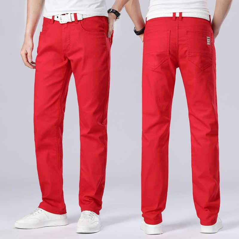 Pantalones Vaqueros Rectos Para Hombre Pantalon De Chandal Ajustado Rojo De Alta Calidad De Disenador Informales Para Motorista Pantalones Vaqueros Aliexpress