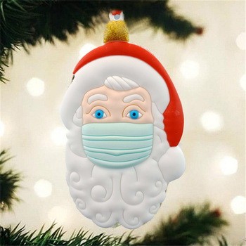 2020 3D Quarantine Christmas Ornament Santa Claus With Mask Personalized Family Hanging Decoration pendant Christmas Gift image