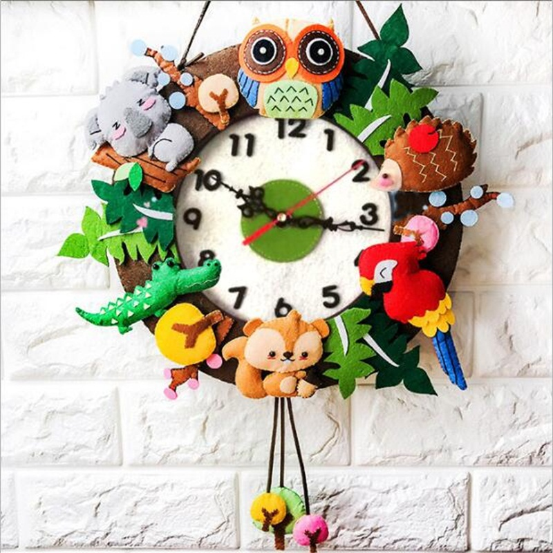 DIY Funny Wall Clock Kindergarten Learning Education Kids Toys Children Handmade Craft Toys Home Decoration Christmas Gifts