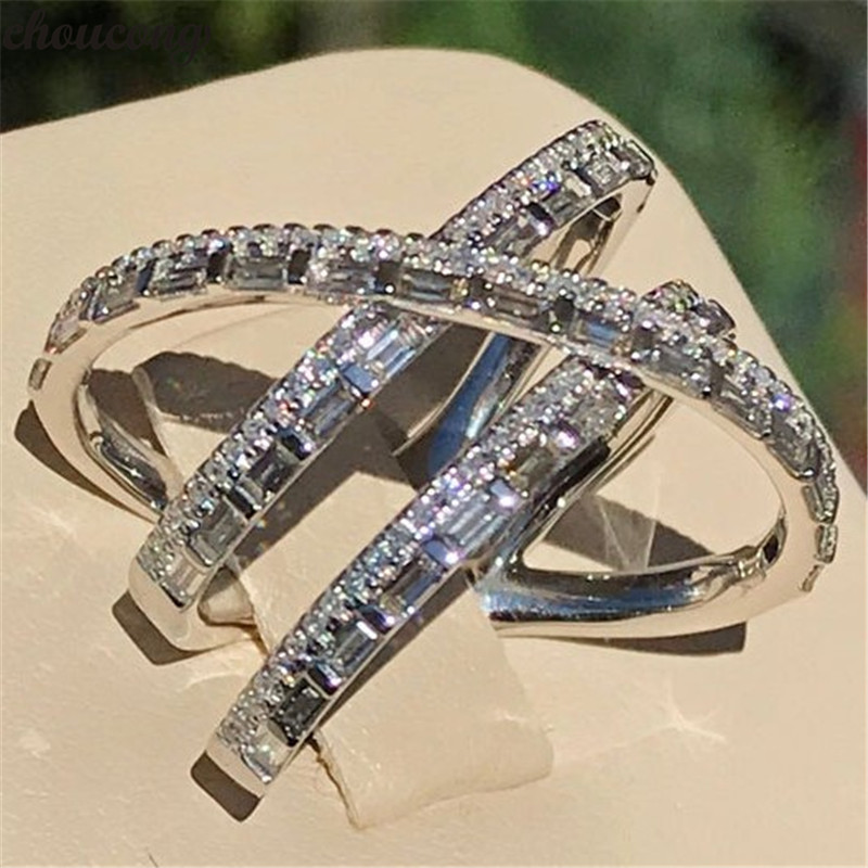Original 925 Sterling Silver Cross Line Ring T Shape AAAAA Cz Engagement Wedding Band Rings For Women Bridal Fine Party Jewelry