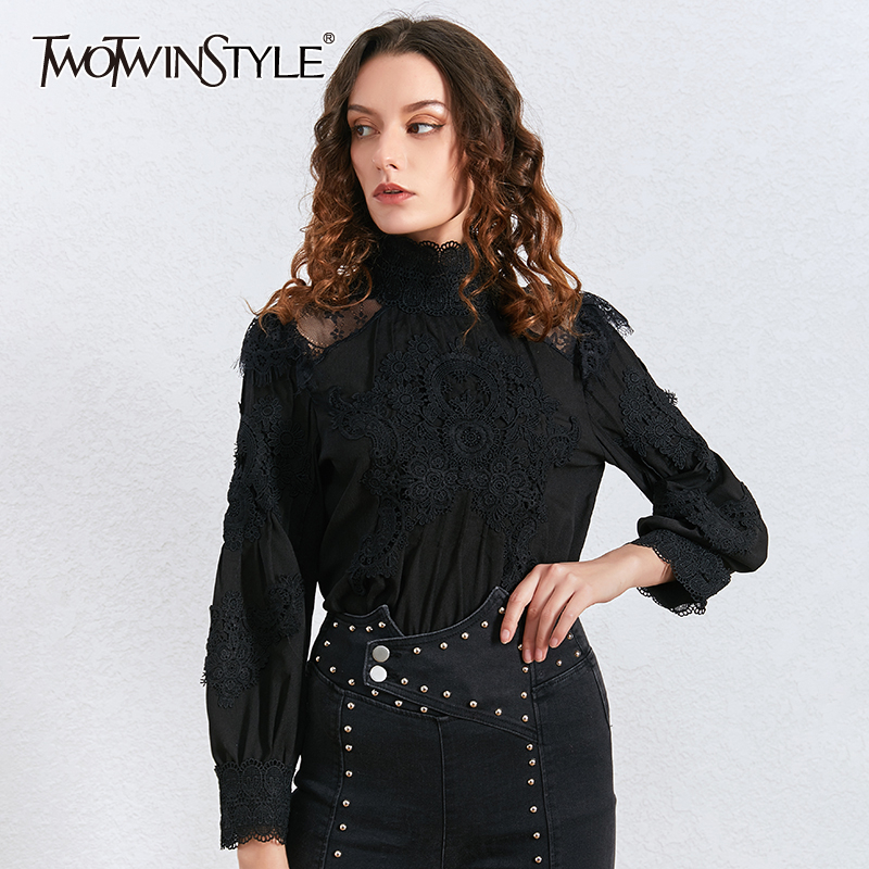 TWOTWINSTYLE Casual Lace Hollow Out Women Shirt Stand Collar Lantern Long Sleeve Slim Blouses Female Clothing 2020 Fashion Tide