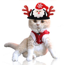 2019 Funny Xmas Hat Pet Dog Cat Christmas Headwear Elk Reindeer Antlers headband Apparel Adjustable Snowman Cap 20