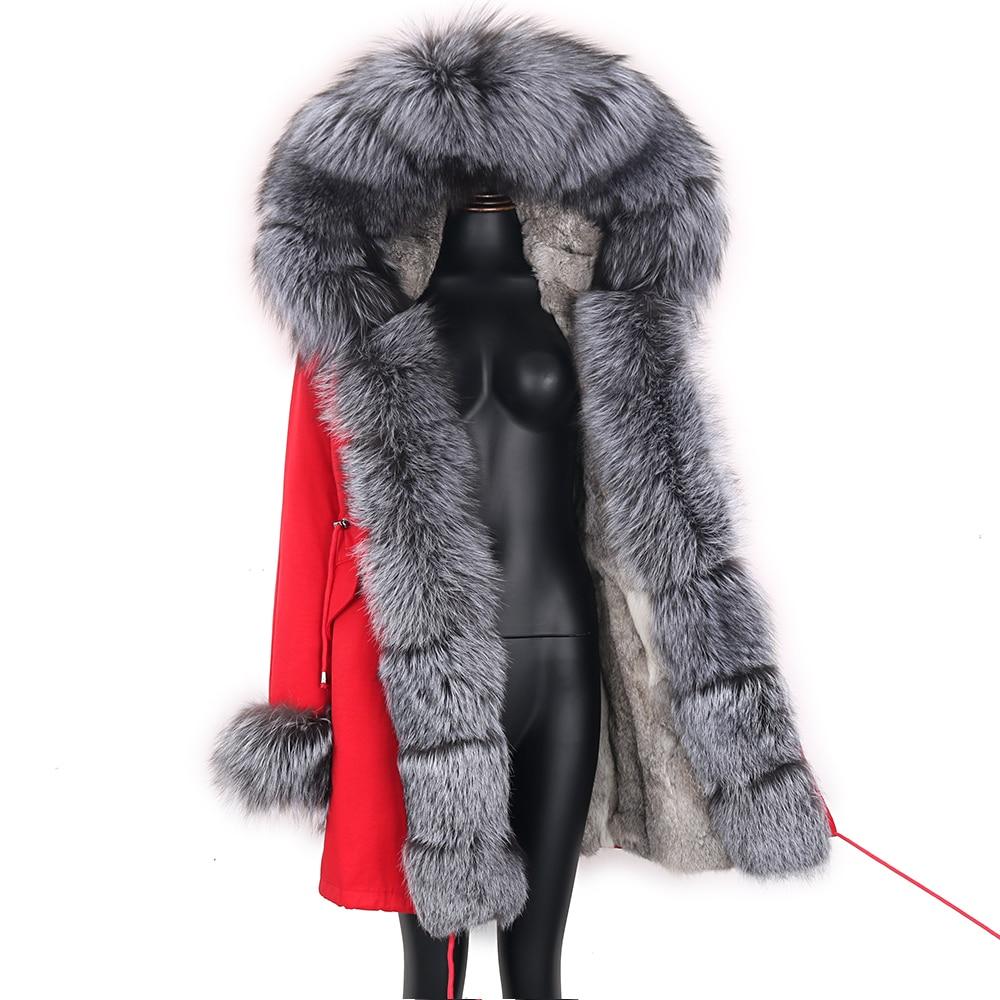 2021 Real Fur Coat Natural Real Fox Fur Collar Warm Big Fur Outerwear Detachable Female Long Parka Women Fashion Winter Jacket 5