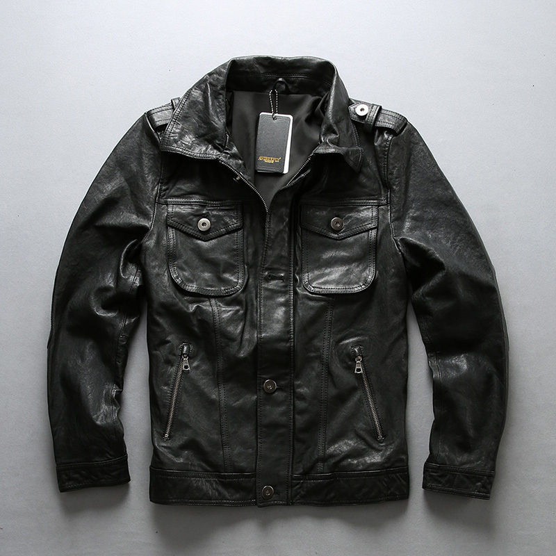 2020 New Men Vegetable Tannin Black Sheepskin Leather Jacket 100% Real Motorcycle Biker Jackets M-4XL