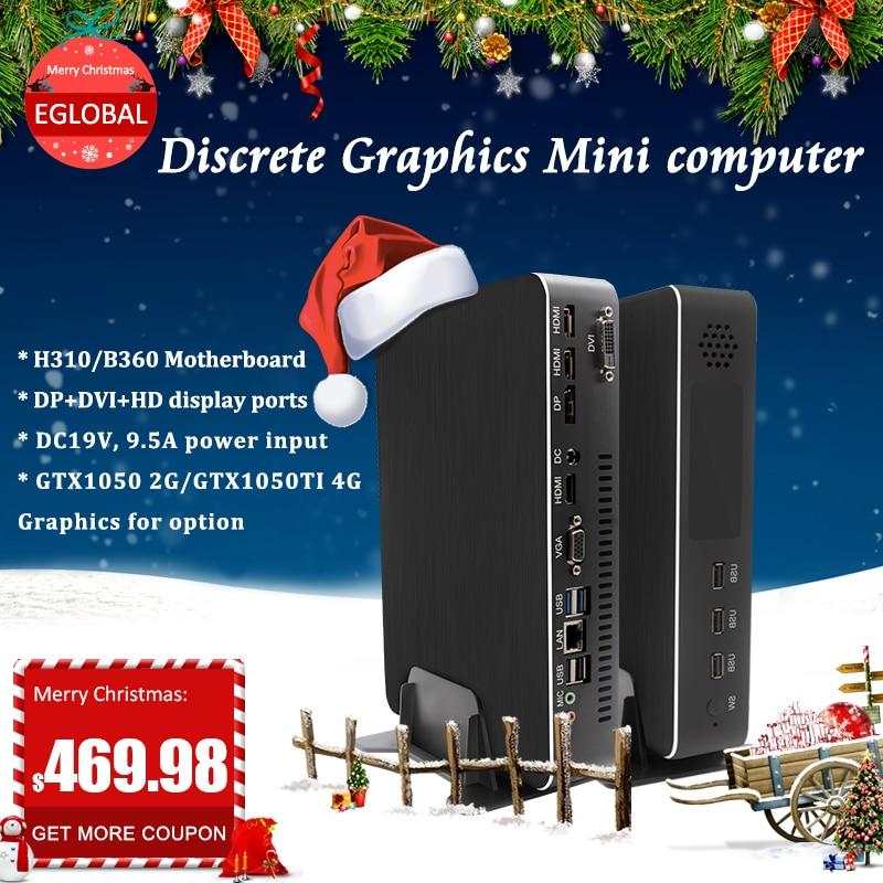 Eglobal Gaming Mini Computer Intel Core i3 9100F i5 9400F Dual Graphics Nvidia GTX 1050/1050ti 4GB Mini Dektop PC 2 HDMI DP DVI