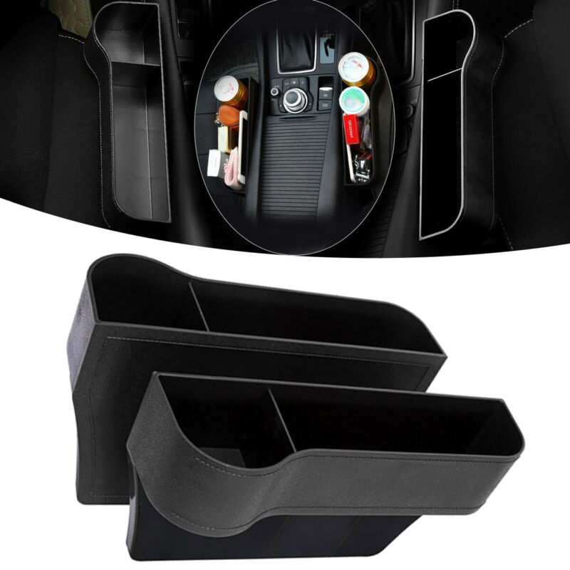 1 Pair Left / Right Car Seat Gap Catcher Organiser Storage Box ABS Plastic Auto Drink Pocket + Cup Holder Side Tidying Universal