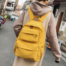 Herald Fashion Multi-pocket Solid Backpack Women Solid Nylon Waterproof Backpack Male High capacity School Bag College Student