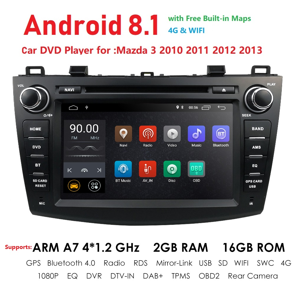 Car DVD <font><b>GPS</b></font> android 8.1 Car Radio Stereo 2G 32G Free <font><b>MAP</b></font> Quad Core 2 din Car Multimedia Player For <font><b>Mazda</b></font> <font><b>3</b></font> 2010-2013 maxx axel image
