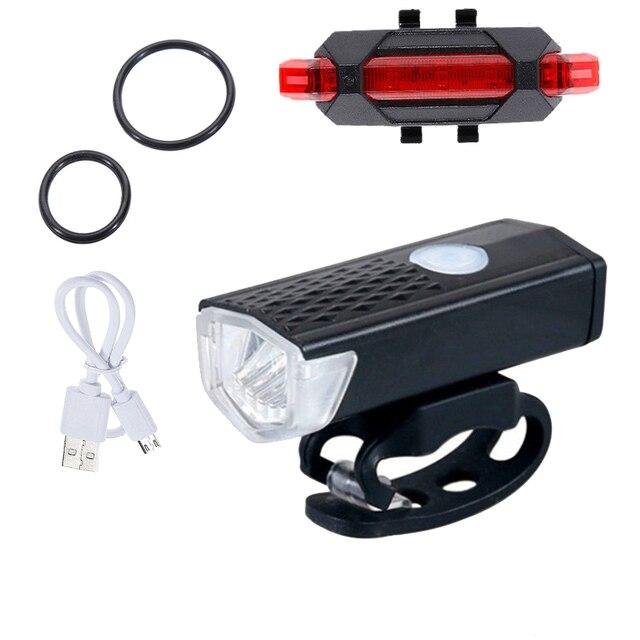 Luz da bicicleta usb led recarregável bicicleta conjunto de luz ciclo montanha frente e 3 cor voltar farol lâmpada lanterna 2