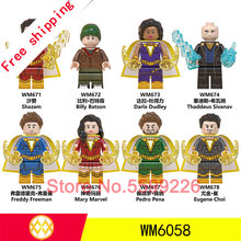 8 stücke legoings DC Super Hero Flash-shazam Billy Batson Darla Dudley Sivana Freddy Mary Marvel Pedro Eugene Choi bausteine spielzeug(China)