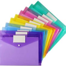 5pcs A4 Size Plastic Envelopes Clear Document File Envelope Folders with Label Pocket & Snap  for School Home Office Supplies