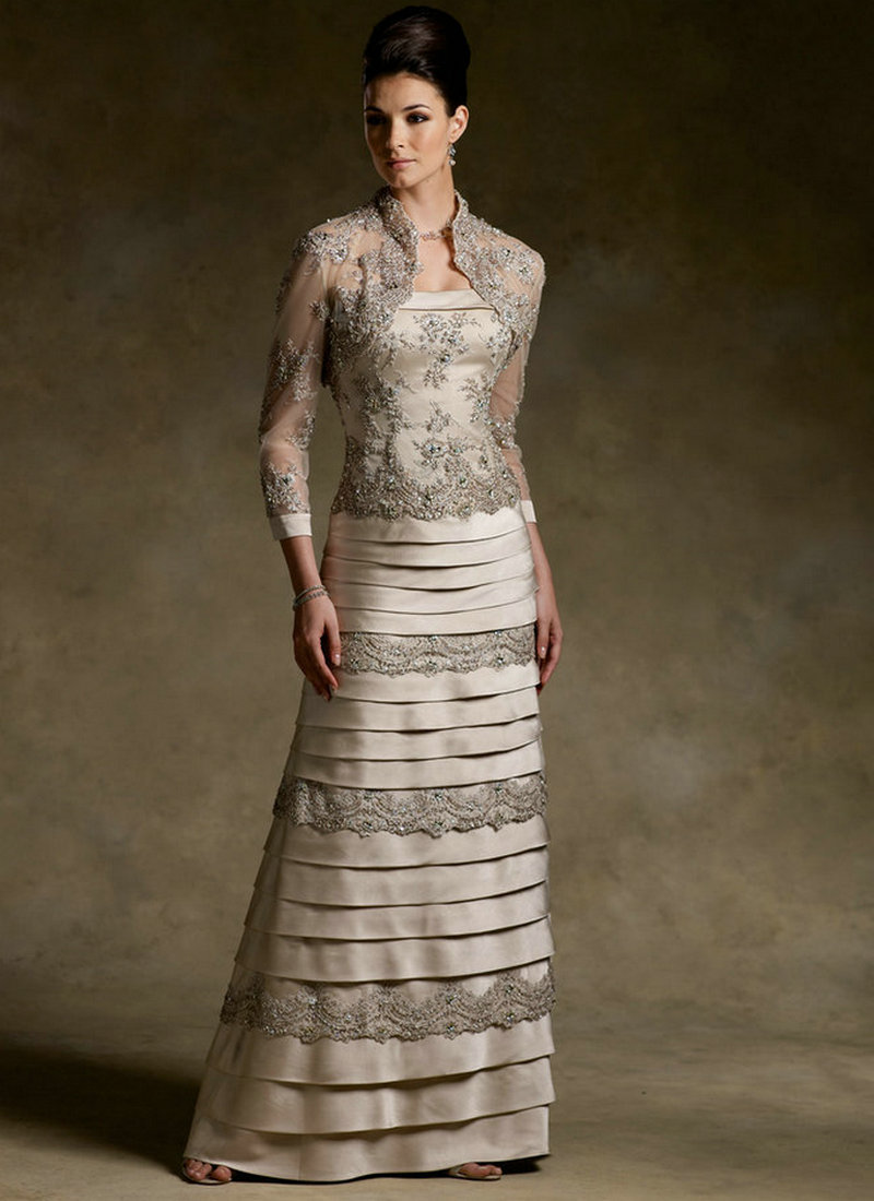 Satin And Lace Layers Ruffle Champagne Mother Of The Bride Dress 2015 With Jacket Three Vestidos De Festa Vestido Longo
