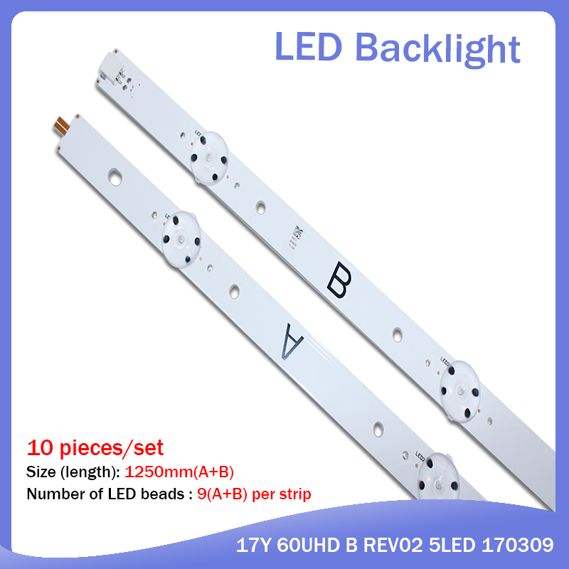 100% New 10 Pieces/setLED Strips For SONY 60 TV KD-60X690E S600DUC-1 17Y 60UHD A REV02 5LED 170209 17Y 60UHD B REV02 5LED 170309