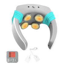 купить 4 Massage Heads Electric Pulse neck Cervical Charge Patch Massager Health Cervical Therapy Instrument Wireless Remote Control дешево