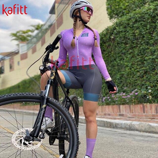 Kafeet triathlon feminino nova camisa de ciclismo de manga comprida camisa profissional camisa de desporto de corrida de uma peça terno de ciclismo macacão 5