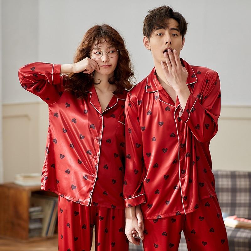 Couple Pajama Sets Silk Satin Pijamas Sleepwear His-and-her Home Suit Pyjama For Lover Man Woman Lovers' Clothes